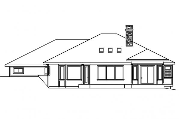 Luxury House Plan - Elmhurst 30-452 - Rear Elevation