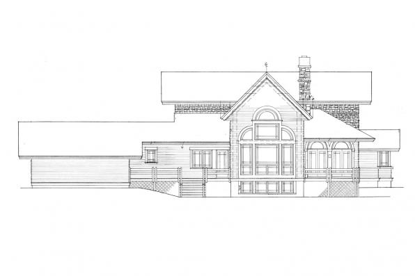 Luxury House Plan - Huntington 42-017 - Rear Elevation