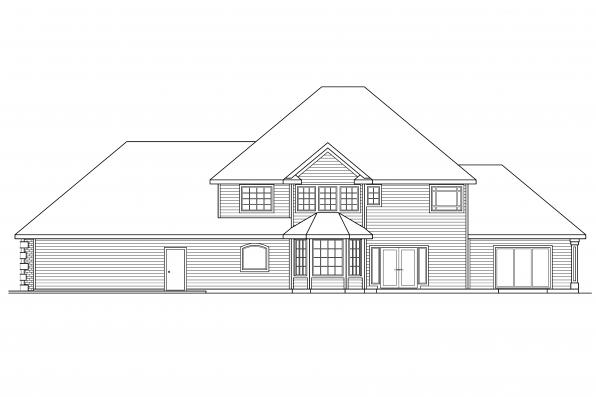 Luxury House Plan - Kersley 30-041 - Rear Elevation