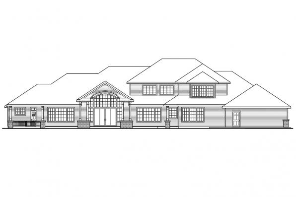 Luxury House Plan - Laurelwood 30-722 - Rear Elevation