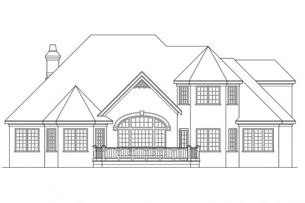 Luxury House Plan - Montpellier 30-027 - Rear Elevation