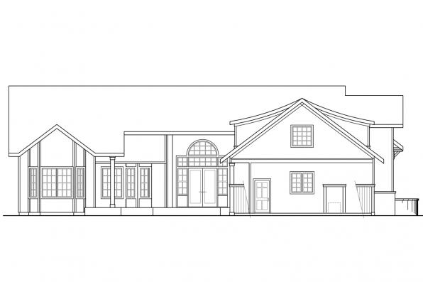 Luxury House Plan - Oxford 30-451 - Rear Elevation