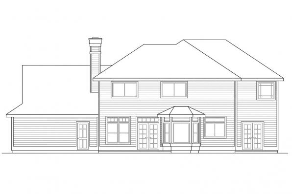 Luxury House Plan - Willmar 30-048 - Rear Elevation
