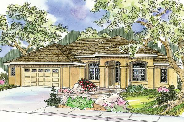 Mediterranean House Plan - Mendocino 30-681 - Front Elevation