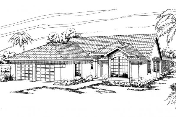 Mediterranean House Plan - Quincy 11-017 - Front Elevation