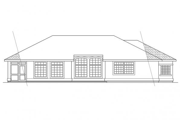 Mediterranean House Plan - Richmond 11-048 - Rear Elevation