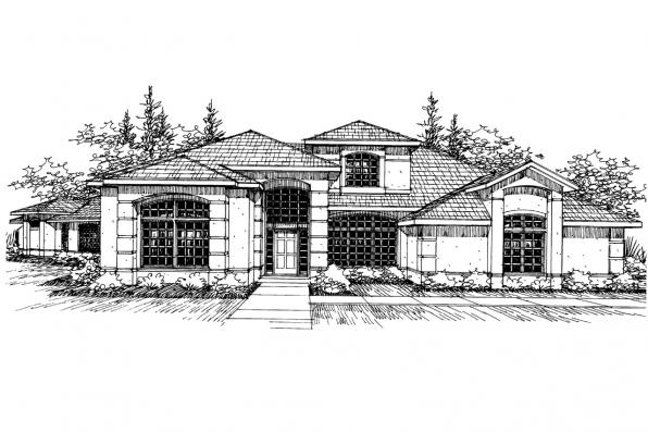 Mediterranean House Plan - Rochester 10-353 - Front Elevation