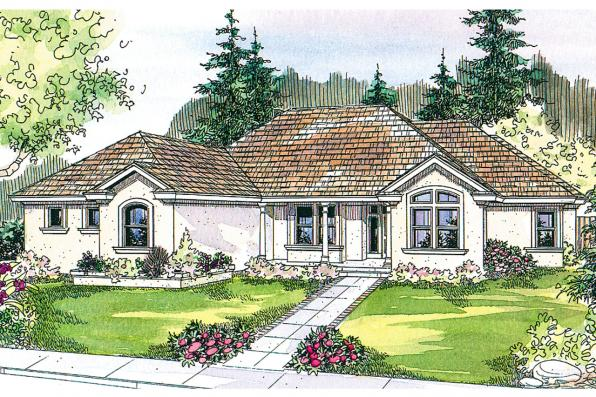 Mediterranean House Plan - Roselle 30-427 - Front Elevation