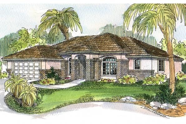Mediterranean House Plan - Royston 30-398 - Front Elevation