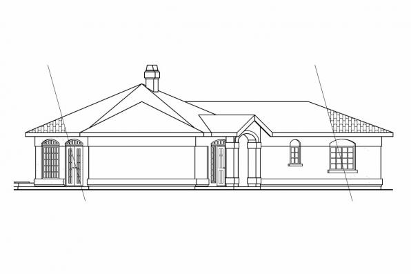 Mediterranean House Plan - San Pedro 11-049 - Left Elevation