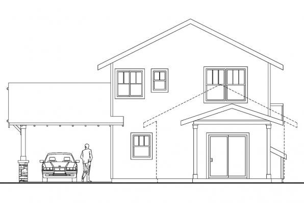 Narrow Lot House plan - Alderdale 30-573 - Rear Elevation