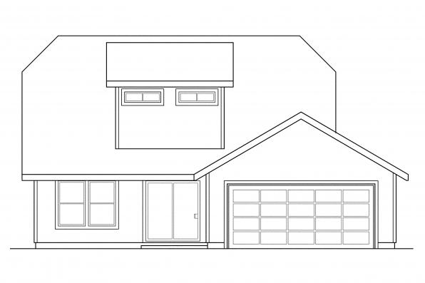 Narrow Lot House Plan - Lawrence 30-103 - Rear Elevation