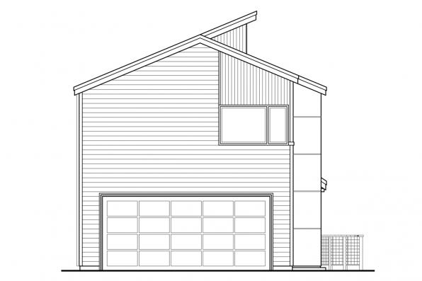 Narrow Lot House Plan - Parkview 30-905 - Rear Elevation