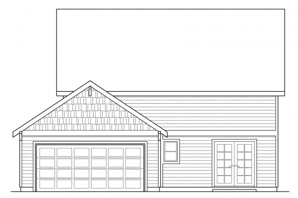 Narrow Lot House Plan - Richardson 30-102 - Rear Elevation