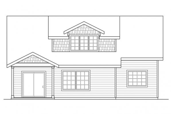 Narrow Lot House Plan - Shasta 30-866 - Rear Elevation