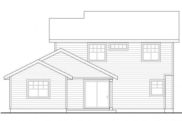Narrow Lot House Plan - Wendover 30-558 - Rear Elevation