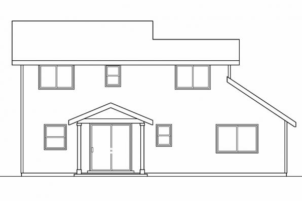 Narrow Lot House Plan - Wethersfield 30-702 - Rear Elevation