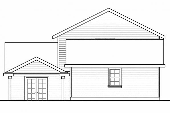 Narrow Lot House Plan - Ellisville 30-588 - Rear Elevation