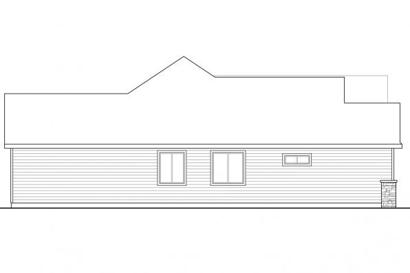 One Story House Plan - Barrington 31-058 - Left Elevation