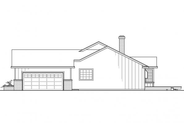 One Story House Plan - Eastport 10-548 - Right Elevation