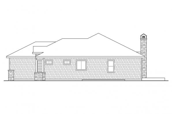 One Story House Plan - Red Oak 30-922 - Right Elevation