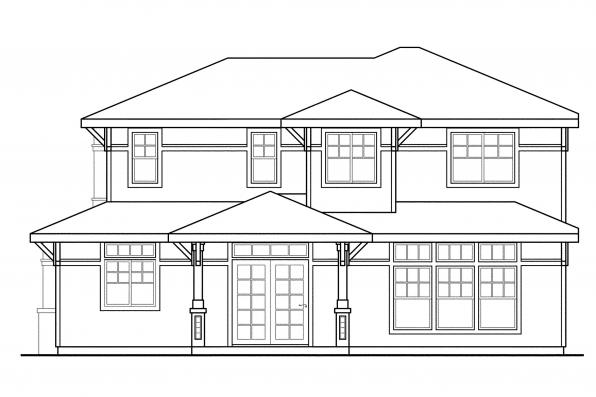 Prairie Style House Plan - Bowman 30-315 - Right Elevation