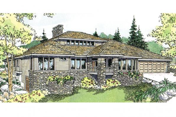 Prairie Style House Plan - Elmhurst 30-452 - Front Elevation