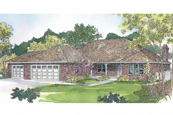 Prairie Style House Plan - Heartshaven 10-525 - Front Elevation