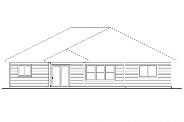 Prairie Style House Plan - Riverside 30-658 - Rear Elevation