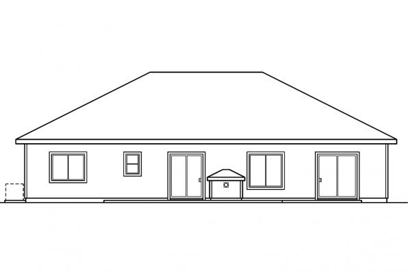 Ranch Home Plan - Arvada 30-261 - Rear Elevation