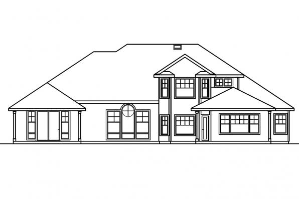 Ranch Home Plan - Asbury 30-237 - Rear Elevation