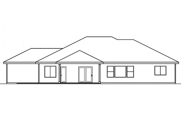 Ranch Home Plan - Clearfield 30-318 - Rear Elevation