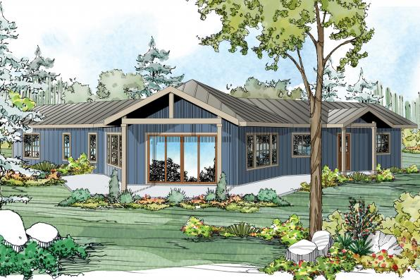 Ranch House Plan - Alder Creek 10-589 - Rear Elevation