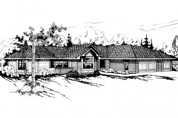 Ranch House Plan - Bainbridge 10-049 - Front Elevation