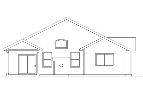 Ranch House Plan - Barlow 30-694 - Rear Elevation