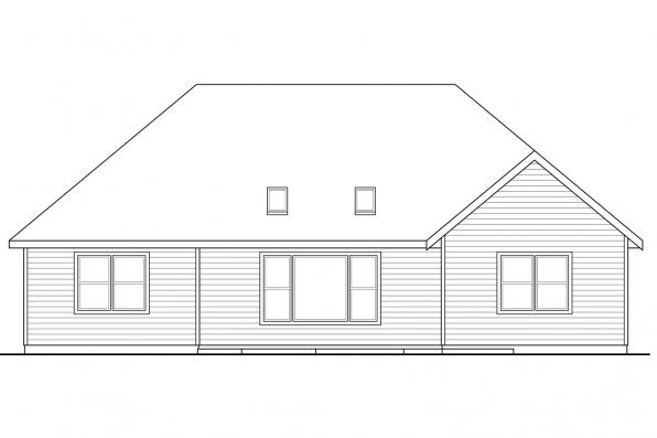 Ranch House Plan - Barrington 31-058 - Rear Elevation