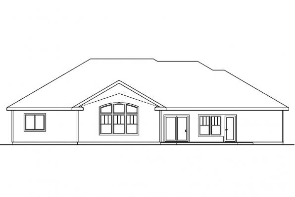 Ranch House Plan - Beaufort 30-630 - Rear Elevation