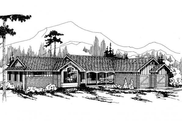 Ranch House Plan - Benton 10-048 - Front Elevation