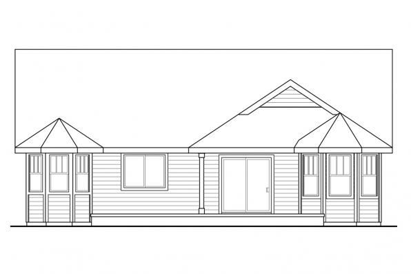 Ranch House Plan - Callahan 30-886 - Rear Elevation