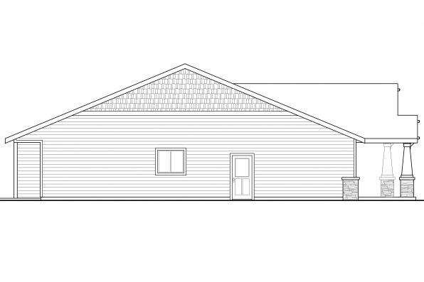 Ranch House Plan - Carlton 30-896 - Left Elevation