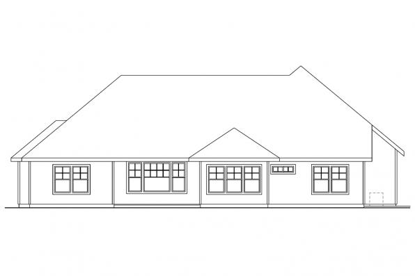 Ranch House Plan - Cauldwell 30-509 - Rear Elevation
