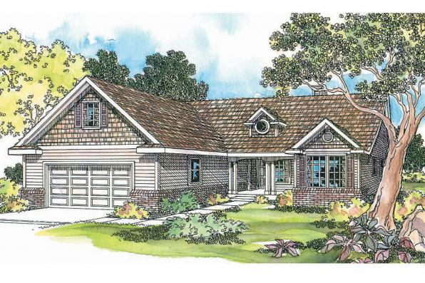 Ranch House Plan - Chesapeake 50-007 - Front Elevation