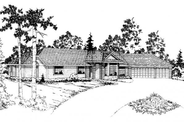 Ranch House Plan - Cleargrove 10-132 - Front Elevation