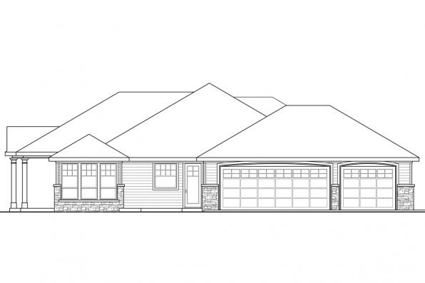 Ranch House Plan - Cloverdale 30-682 - Right Elevation