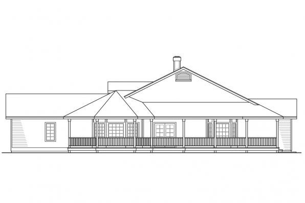 Ranch House Plan - Cortland 10-195 - Right Elevation
