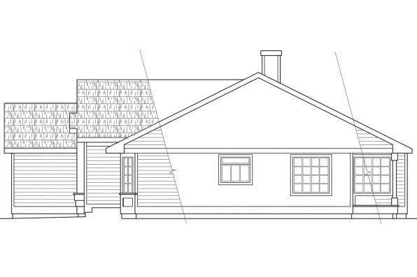 Ranch House Plan - Danforth 10-004 - Right Elevation