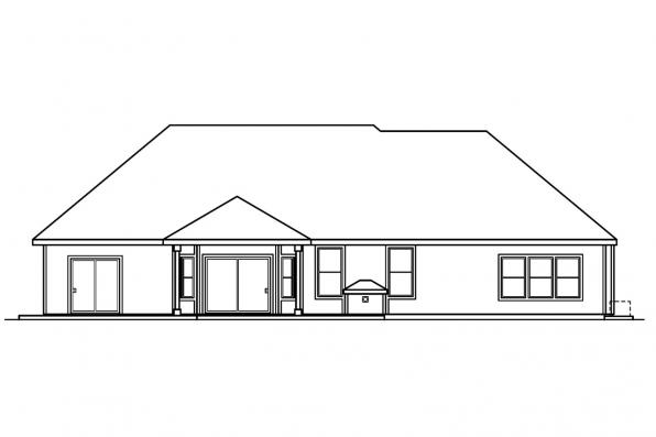 Ranch House Plan - Davidson 30-384 - Rear Elevation