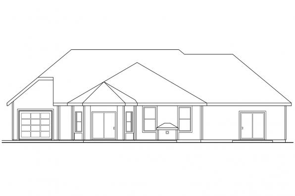 Ranch House Plan - Elmore 30-168 - Rear Elevation