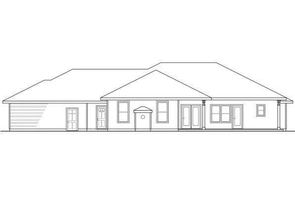 Ranch House Plan - Fall Creek 30-755 - Rear Elevation
