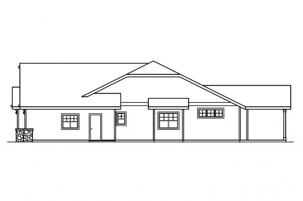 Ranch House Plan - Grayson 30-305 - Right Elevation